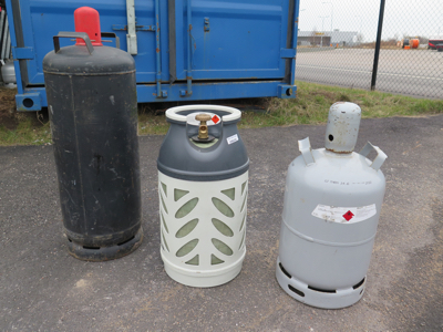 Exempel på några av våra gasolflaskor