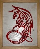Halländskt hantverk Tavla med röd drake mot vit botten