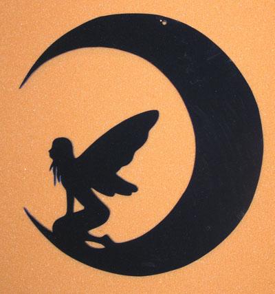 Älva på måne svart  20 cm