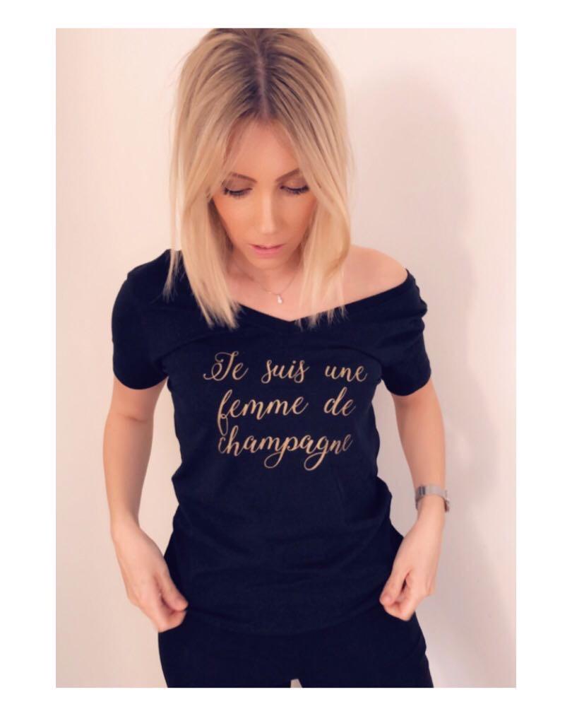 Champagne t-shirt, svart