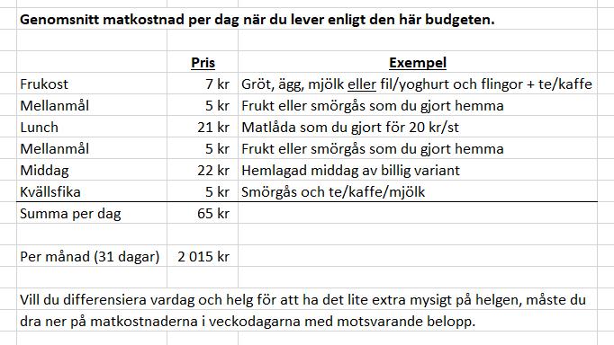 Matbudget på existensminimum, genomsnitt per dag under 31 dagar.
