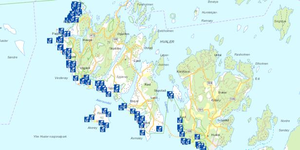 Skjærgårdstjenesten på Hvaler står bak det nye ryddekartet for marint søppel. Kartet viser påslagssoner og påslagsområder for marint søppel i Ytre Hvaler nasjonalpark, basert på mange års erfaring med innsamling i ytre Hvaler.