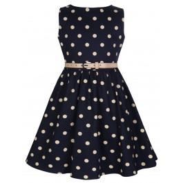 Audrey barn klänning, Lindy Bop - Navy blå med ljgula prickar och skärp. Stl 3-4år