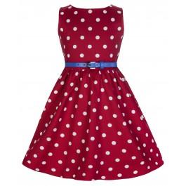 Audrey barnklänning Lindy Bop - Audrey barnklänning röd/vit stl 3-4år