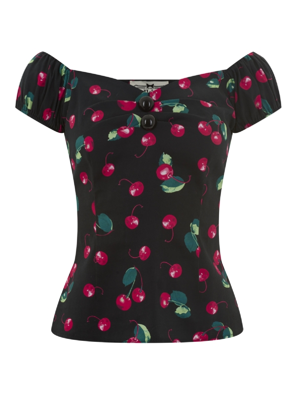 Dolores 50s cherry print top black red A copy