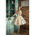 Darlene 50`s swing dress - darlene blom grön stl XS