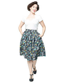 Tiki in Paradise Gathered Skirt - Tiki Paradise Kjol stl S