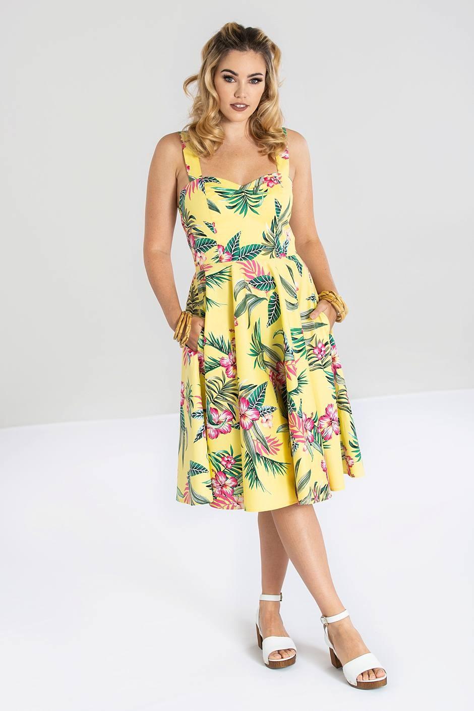 kalani-50s klänning gul