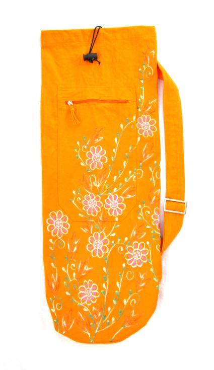 Yogaväska orange med broderade blommor