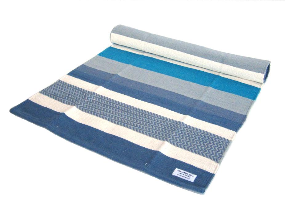 Yogamatt blå-vit randig ca 195 cm