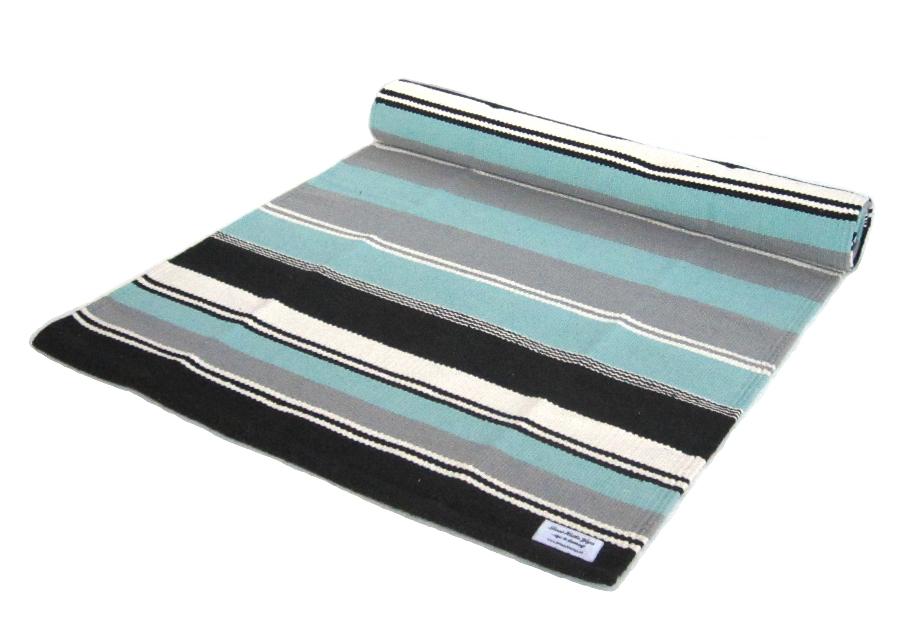 Yogamatt blå-svart-vit randig ca 195 cm