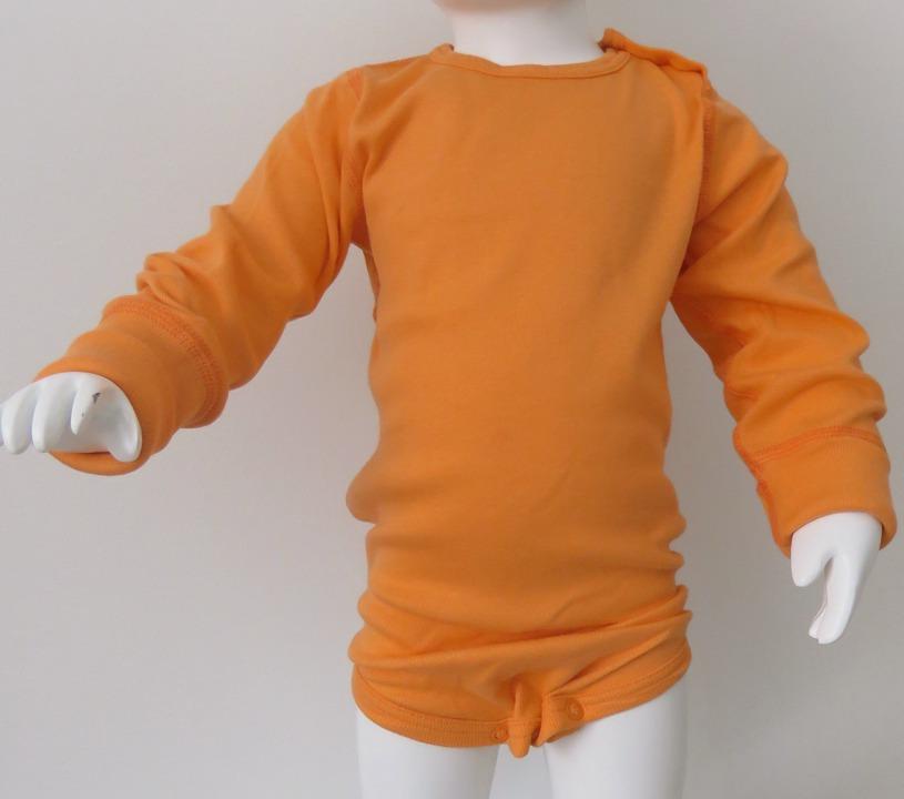 Body långärmad ljus orange