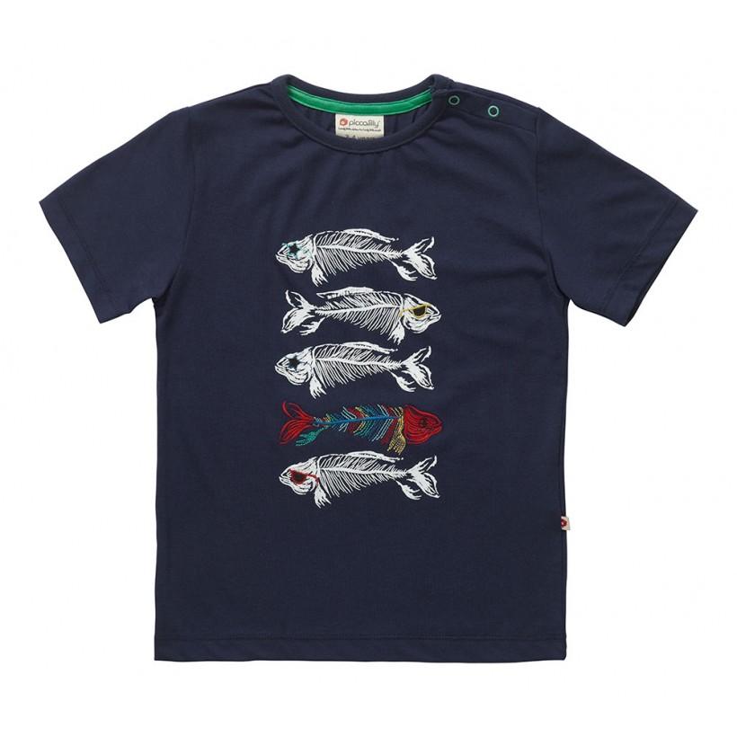 T-shirt barn marinblå fisk