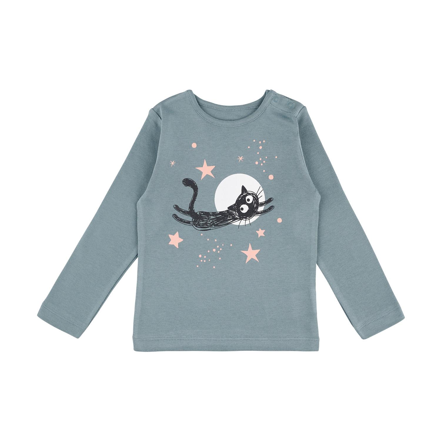 Barn t-shirt blå flygande katt