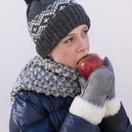 Vantar för barn i lammskinn - Ljusgrå 1-2år