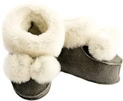 Babytofflor i lammskinn - Grå/vita 3-6mån - Babytofflor lammskinn grå 3-6mån