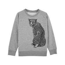 Sweatshirt barn - Grå med leopard - 3-8år - Sweatshirt grå leopard 3-4år