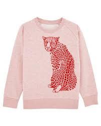 Sweatshirt barn - Rosa med leopard - 3-8år - Sweatshirt rosa leopard 3-4år