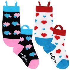 Ezsox barnstrumpor - Hjärtan 2-pack (23-34) - 2-pack barnstrumpor hjärtan 31-34