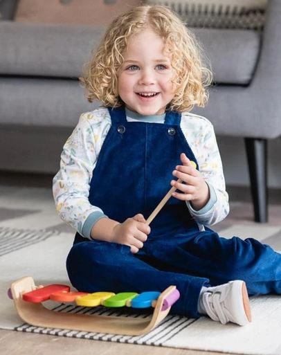 hängselbyxor blå barn ekologiska