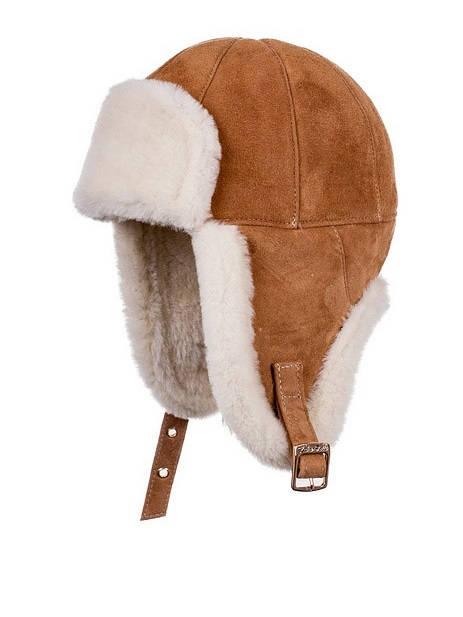 Vintermössa lammskinn brun för barn