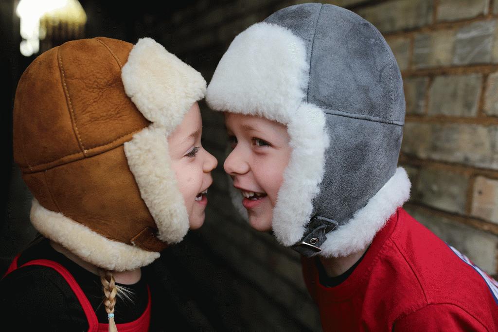 vintermössa barn lammskinn