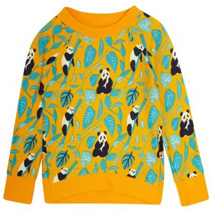 tröja sweatshirt för barn gul med panndor ekologisk bomull