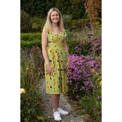 omlottklänning dam gul