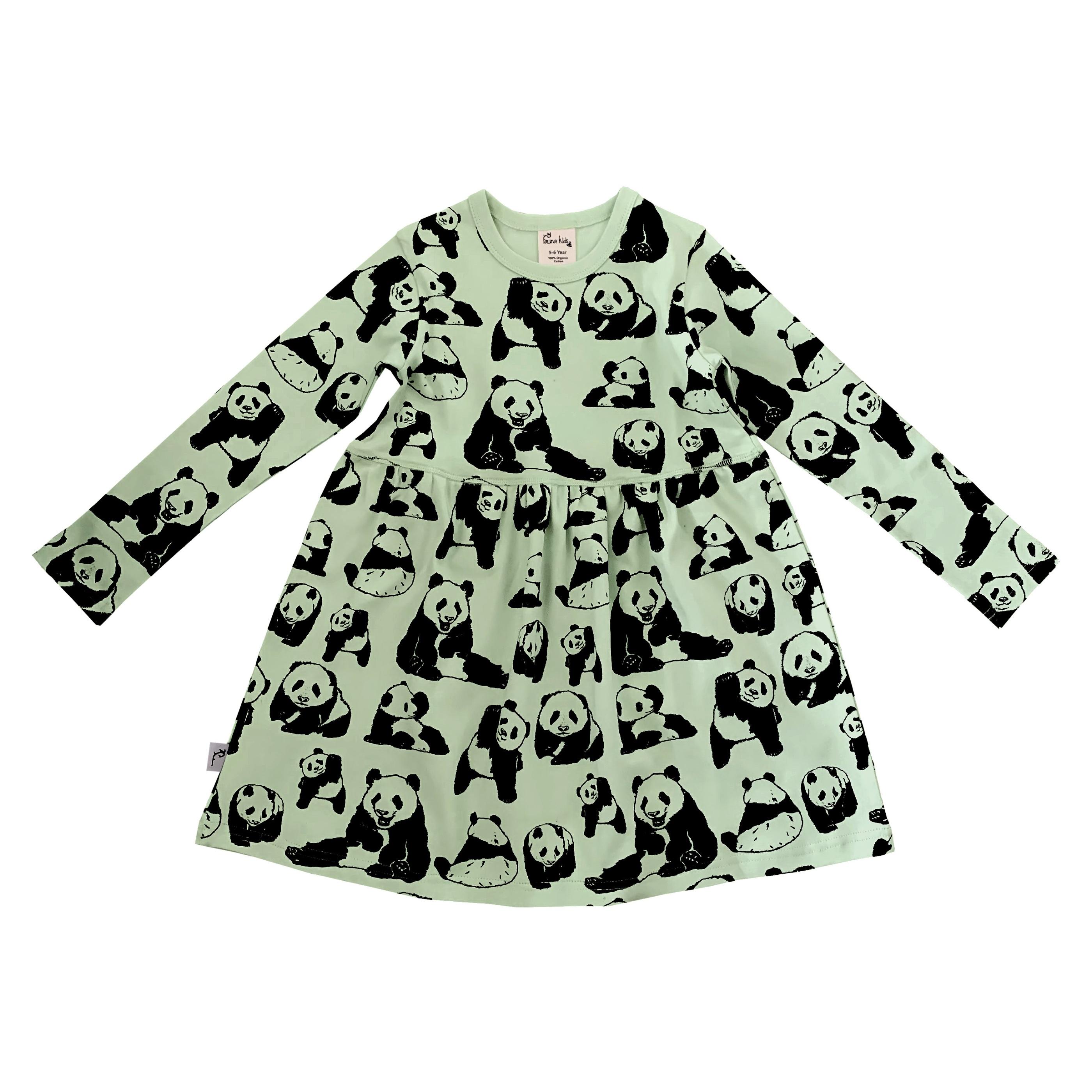 Barnklänning långärmad ekologisk bomull pandor grön