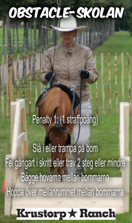 1 straffpoäng för att slå i eller trampa på en bom :) Kanske svårare att förstå de 2 sista raderna. Men tänk er en radda travbommar, eller skritt för den delen. Hästen ska ju sätta en hov mellan varje bom. Om hästen sätter 2 hovar eller hoppar över ett mellanrum, så blir det 1 straffpoäng.