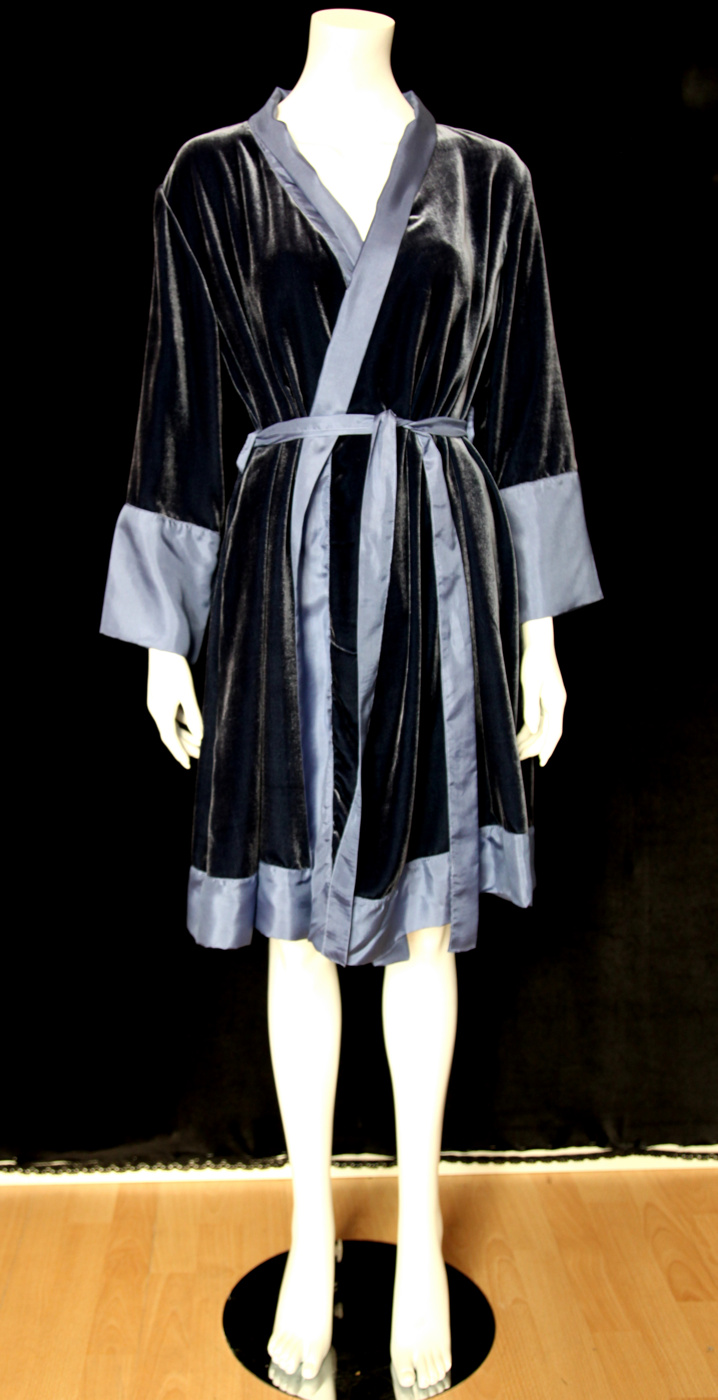 Lydia kimono sammet blå fram