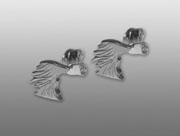 Afghan örhänge huvud par - Silver