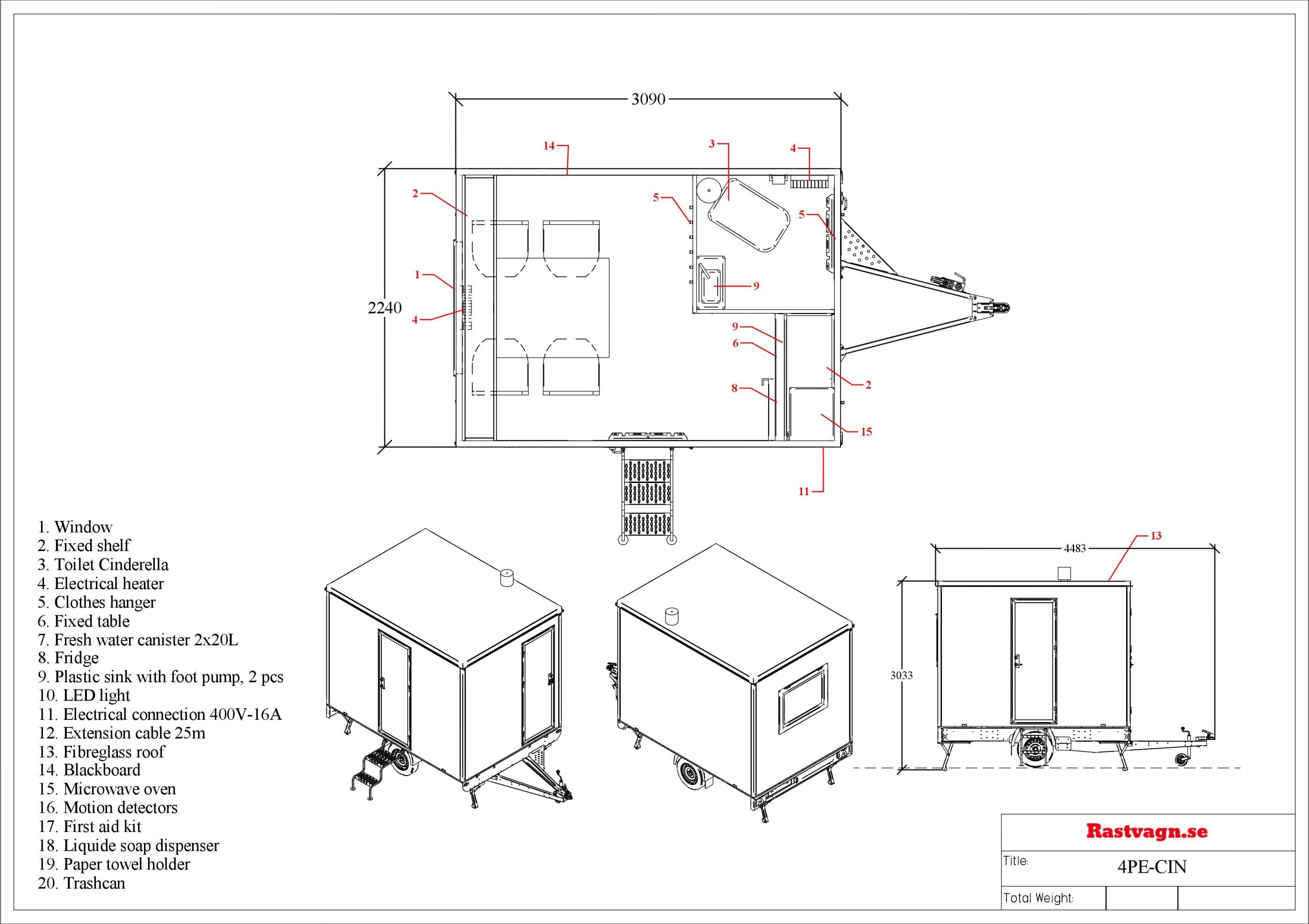 Rastvagn 4PE - Förbränningstoalett