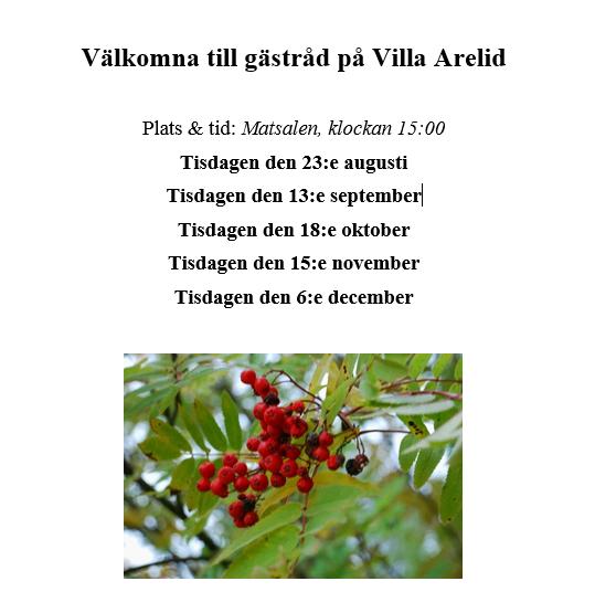 Villa Arelid Nyheter Gästrådstider