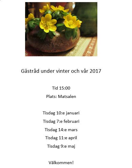 Villa Arelid Nyheter Gästråd Vinter-Vår 2017