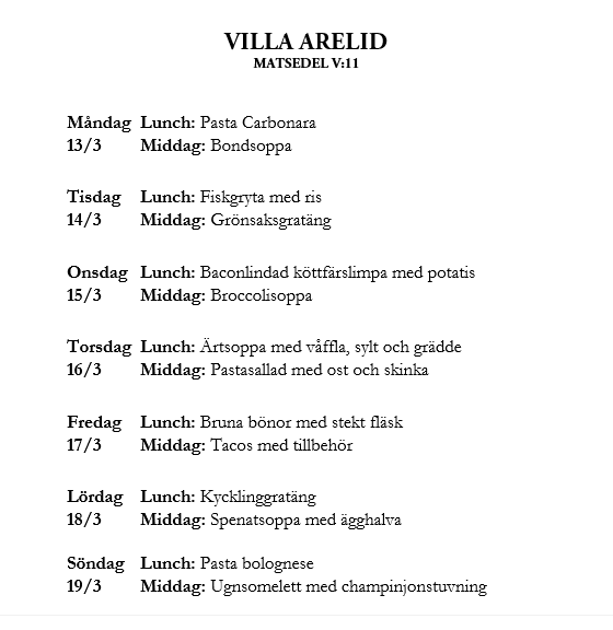 Villa Arelid Nyhetet Matsedel V.11