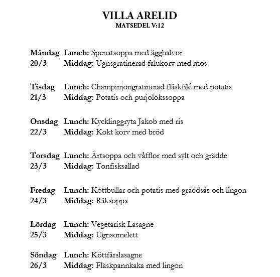 Villa Arelid Nyheter Matsedel V.12
