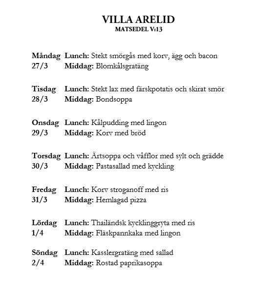 Villa Arelid Nyheter Matsedel V.13
