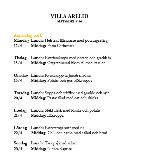 Villa Arelid Nyheter Matsedel V.16