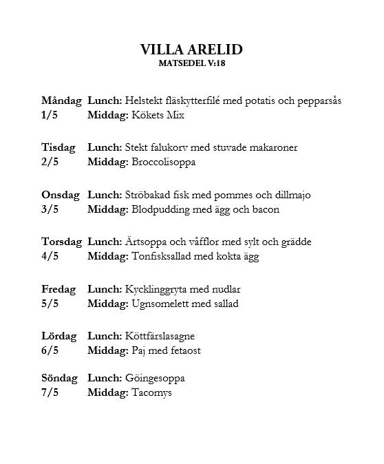 Villa Arelid Nyheter Veckomatsedel V.18