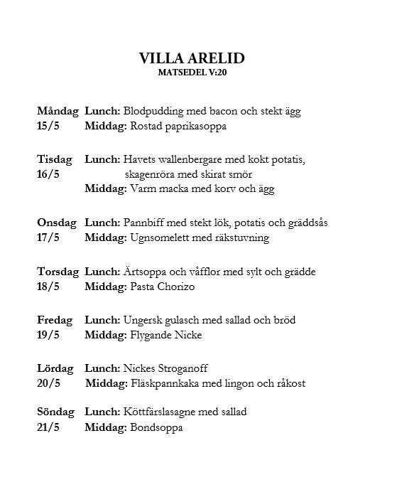 Villa Arelid Nyheter Veckomatsedel V.20