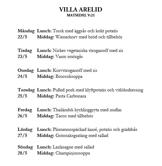 Villa Arelid Nyheter Veckomatsedel V.21