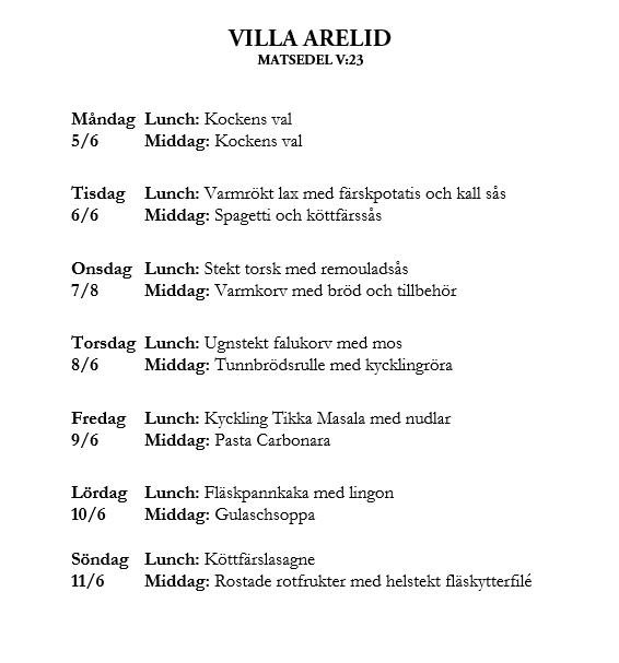 Villa Arelid Nyheter Veckomatsedel V.23