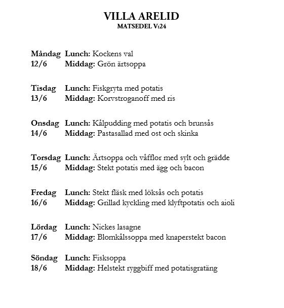 Villa Arelid Nyheter Veckomatsedel V.24