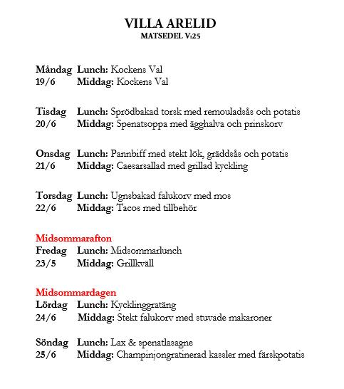 Villa Arelid Nyheter Veckoplanering V.25