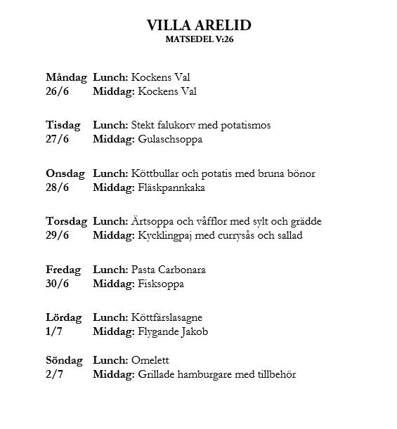 Villa Arelid Nyheter Veckomatsedel V.26