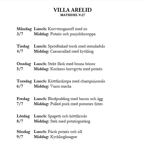 Villa Arelid Nyheter Veckomatsedel V.27