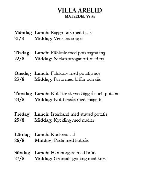 Villa Arelid Nyheter Veckomatsedel V.34