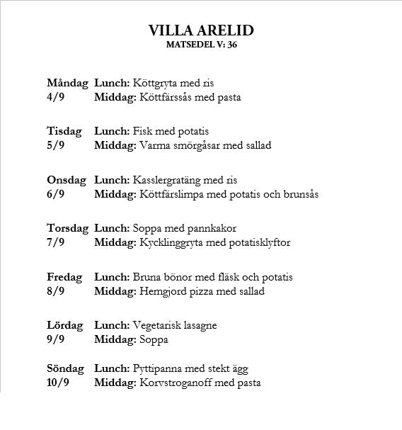 Villa Arelid Nyheter Veckomatsedel V.36