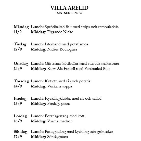 Villa Arelid Nyheter Veckomatsedel V.37